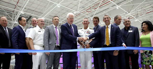 Ribbon cutting with John Cornyn, Jim Perschbach, Jay Galloway and others commemorating the Super Hornet workload.