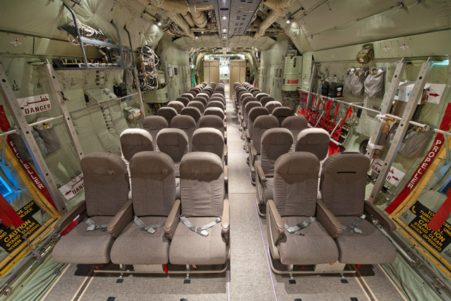 Palletized seats allow cargo aircraft to be converted for passenger use.