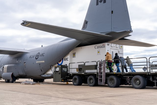 The first medical module as it is loaded onto a Royal Canadian Air Force aircraft at Kelly Field in early 2021 – ready to undertake life-saving missions in Canada and around the world - Courtesy photo from Knight Aerospace