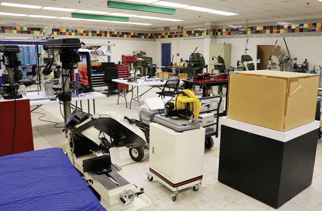Fabrication equipment in Samsat's temporary maker space.